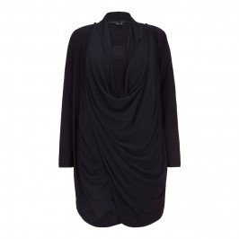 Beige Chiffon Front  Wrap twinset in black - Plus Size Collection
