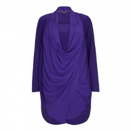 BEIGE CHIFFON FRONT WRAP TWINSET IN VIOLET - Plus Size Collection