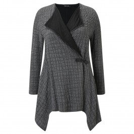 BEIGE WAFFLE CARDIGAN IN GREY AND BLACK - Plus Size Collection