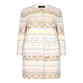 BEIGE label LONG striped jacquard collarless JACKET - Plus Size Collection