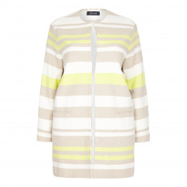 BEIGE LONG striped JACKET - Plus Size Collection