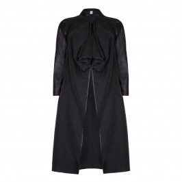 Que Black Long Jacket with eco-leather details - Plus Size Collection
