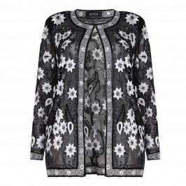 BEIGE label black sequinned and embroidered silk JACKET - Plus Size Collection