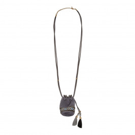 BEIGE label grey crochet purse pendant NECKLACE - Plus Size Collection