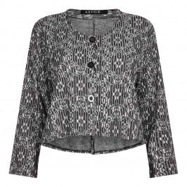 BEIGE label grey jacquard jacket - Plus Size Collection