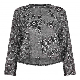 BEIGE label grey jacquard jacket - Plus Size Collection