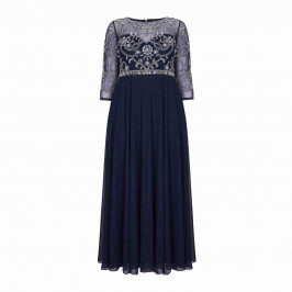 BEIGE LABEL LACE BODICE EMPIRELINE DRESS NAVY - Plus Size Collection