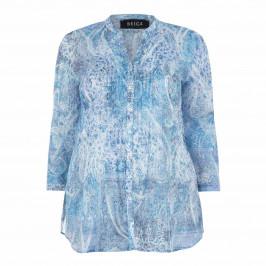 BEIGE LABEL 100% COTTON PAISLEY SHIRT BLUE - Plus Size Collection
