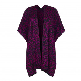 Beige Label Intarsia Floral Print Cape in Magenta  - Plus Size Collection