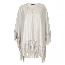 BEIGE suede look cacha cape - Plus Size Collection