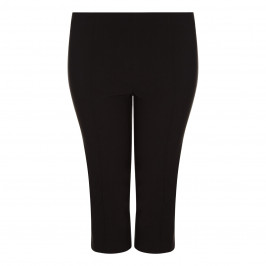 BEIGE LABEL SLIM LEG CROPPED VISCOSE STRETCH TROUSER IN BLACK - Plus Size Collection