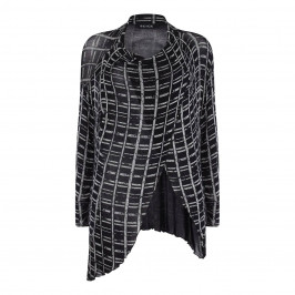 BEIGE LABEL PRINT BLACK WRAP FRONT GEOMETRICAL CARDIGAN - Plus Size Collection