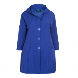 BEIGE LABEL HOODED COAT CHINA BLUE - Plus Size Collection