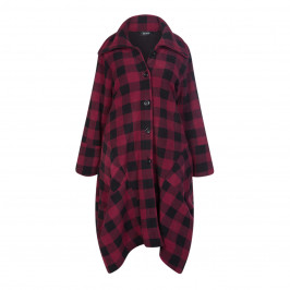 BEIGE LABEL BERRY AND BLACK CHECK COAT - Plus Size Collection