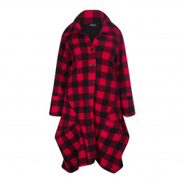 BEIGE LABEL RED AND BLACK CHECK COAT - Plus Size Collection