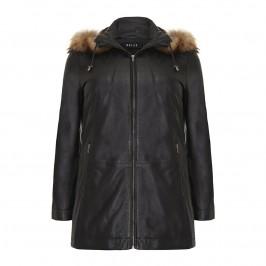 BLACK LEATHER FUR TRIMMED PARKA COAT BY BEIGE - Plus Size Collection