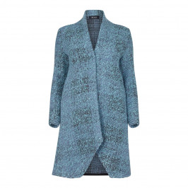 BEIGE LABEL TURQUOISE COAT WITH SHAWL COLLAR - Plus Size Collection