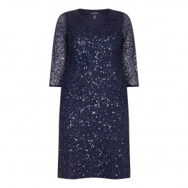 BEIGE LABEL MIDNIGHT BLUE SEQUINNED DRESS - Plus Size Collection