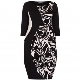 BEIGE LABEL CURVE ENHANCING DRESS BLACK AND WHITE - Plus Size Collection