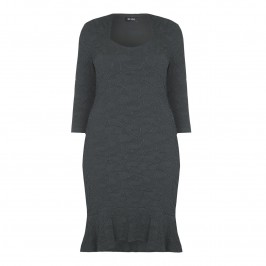 BEIGE textured slate jersey jacquard DRESS - Plus Size Collection