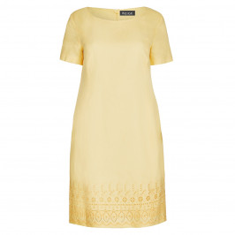 BEIGE LABEL LINEN DRESS WITH BRODERIE ANGLAIS BORDER YELLOW - Plus Size Collection