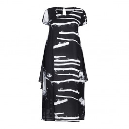BEIGE abstract monochrome print DRESS - Plus Size Collection