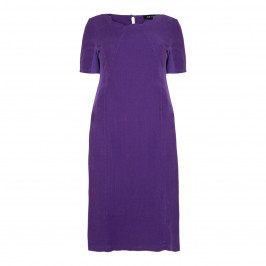 BEIGE SCALLOP NECK LINEN DRESS ULTRA VIOLET - Plus Size Collection
