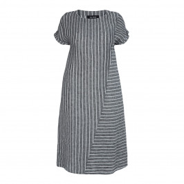 BEIGE LABEL GREY LINEN STRIPE DRESS - Plus Size Collection