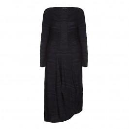 BEIGE asymmetric textured black jersey DRESS - Plus Size Collection