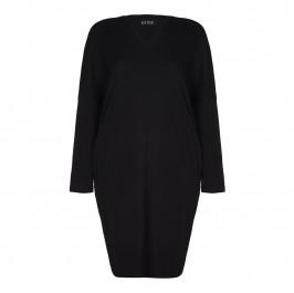 BEIGE LABEL black RIBBED V-NECK TRAPEZE DRESS  - Plus Size Collection