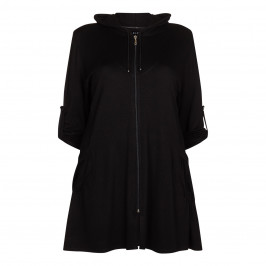 BEIGE label black zip-up HOODY with pocket detailing - Plus Size Collection