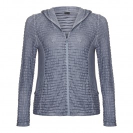 Beige Textured blue-grey Hoody - Plus Size Collection