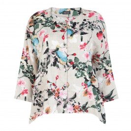 BEIGE LABEL PRINTED JACKET BEIGE - Plus Size Collection