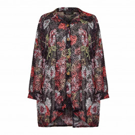 BEIGE LABEL FLORAL PRINT GEORGETTE SHIRT RED - Plus Size Collection