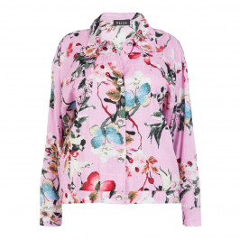 BEIGE LABEL CHERRY BLOSSOM PRINT JACKET PINK - Plus Size Collection