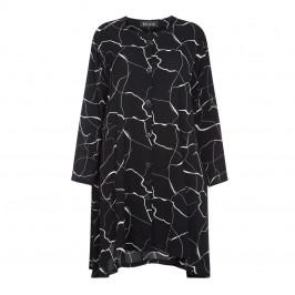 BEIGE LABEL LONGLINE BLACK PRINT JACKET - Plus Size Collection