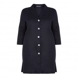 BEIGE LABEL LONGLINE LINEN JACKET NAVY - Plus Size Collection
