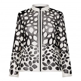 BEIGE LABEL LEATHER CUT-OUT JACKET BLACK AND WHITE - Plus Size Collection