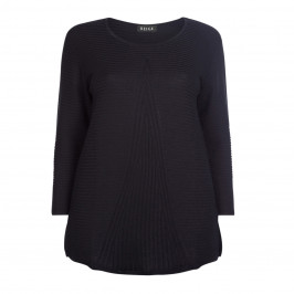 BEIGE LABEL BLACK ROUND NECK KNITTED TUNIC - Plus Size Collection