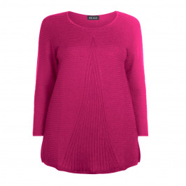 BEIGE LABEL CERISE ROUND NECK KNITTED TUNIC - Plus Size Collection