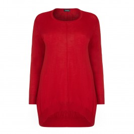 BEIGE merino wool red knit TUNIC with dip hem - Plus Size Collection