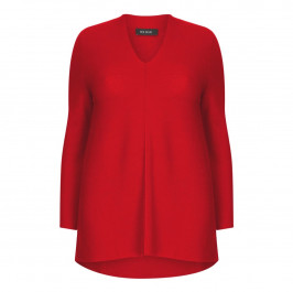 Beige Label merino wool Knitted Tunic Red - Plus Size Collection