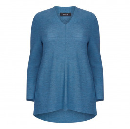 BEIGE LABEL MERINO WOOL KNITTED TUNIC PETROL BLUE - Plus Size Collection