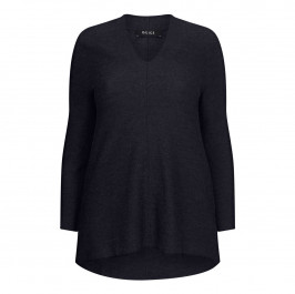 Beige label merino wool Knitted Tunic Navy - Plus Size Collection