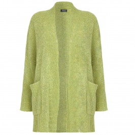 Beige Longline chartreuse boucle Cardigan - Plus Size Collection
