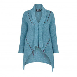 BEIGE LABEL CARDIGAN WITH DARK CROSS STITCH DETAIL - Plus Size Collection