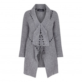 BEIGE LABEL GREY CARDIGAN WITH DARK CROSS STITCH DETAIL - Plus Size Collection