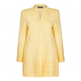 BEIGE LABEL LINEN JACKET WITH BRODERIE ANGLAIS BORDER YELLOW - Plus Size Collection