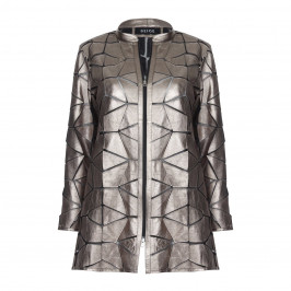 BEIGE LABEL METALLIC LEATHER JACKET WITH GEOMETRIC APPLIQUES  - Plus Size Collection