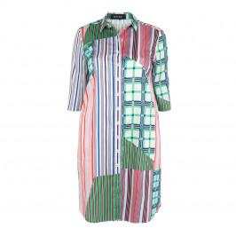 BEIGE LABEL LONGLINE COTTON STRIPE SHIRT - Plus Size Collection